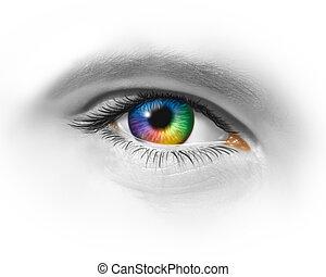 skapande, ögon