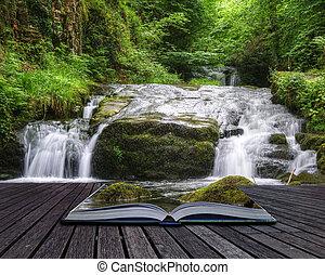skapande, begrepp, avbild, av, flytande, skog, vattenfall,...