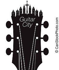 skapande, gitarr, stad, musik, bakgrund