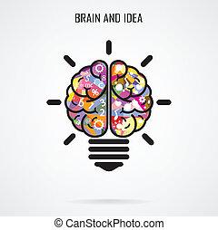 skapande, hjärna, idé, och, ljus kula, begrepp, begrepp