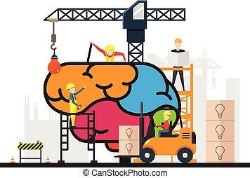 skapande, hjärna, konstruktion, begrepp