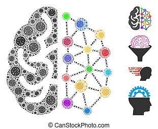 skapande, virus, collage, hjärna, covid, ikonen