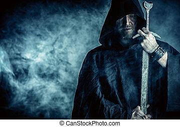 skarp, sværd