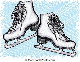skate., ベクトル, 氷, イラスト