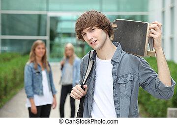 skate-board, adolescent