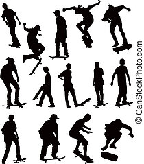Skate board collection - Skate board black silhouettes ...