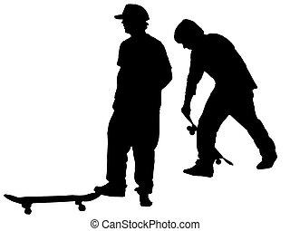 Skate Board Dudes - shadowy skate board figures in...