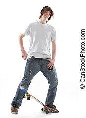 Skate Board Teenager - Male teenager skate board dude