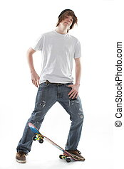 Skate Board Teenager - Male teenager skate board dude
