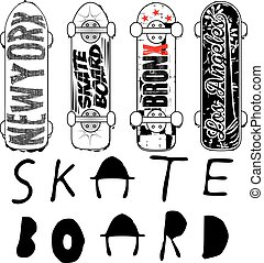 Skate board typography; t-shirt graphics; vectors