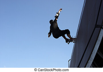 Skate Boarder - Skate boarder on a wave ramp