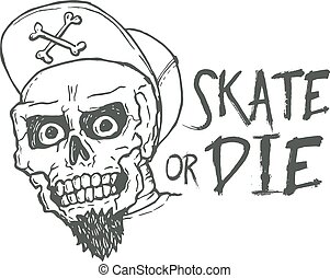 Skate or die lettering tattoo design. Skater scull vintage t...