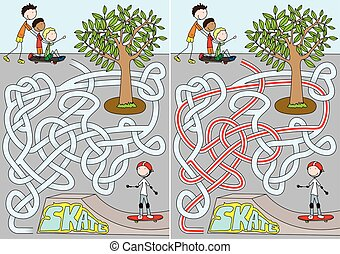 Skate park maze for kids with a solution