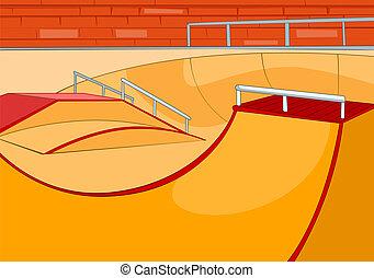 Skate Ramp. Cartoon Background. Vector Illustration EPS 10.