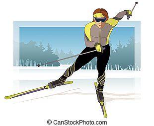 skate skier, female gliding on snow with trees in background