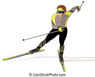 skate skier, female on white background