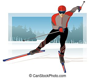skate skier, male gliding on snow with trees in background
