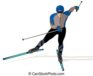 skate skier, male on a white background
