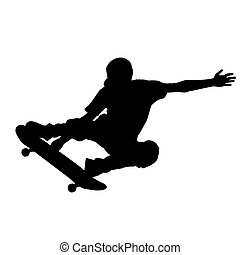 Skateboard - abstract skateboard silhouette on a white...