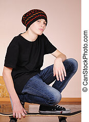 skateboard, adolescent