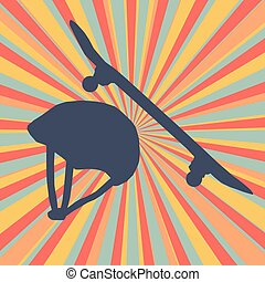 Skateboard and helmet protection abstract vector burst...