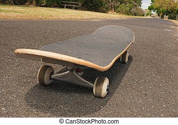 skateboard, asfalto, sentiero