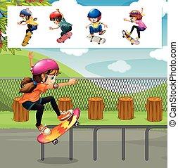 skateboard, bambini, parco, gioco
