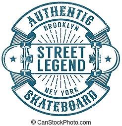 Skateboard Brooklyn retro emblem. Worn textures on a...
