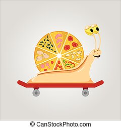 skateboard, caracol, pizza