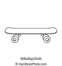 Skateboard cartoon coloring book vector