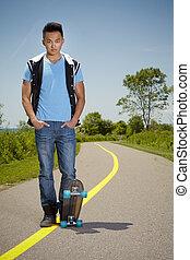 skateboard, człowiek