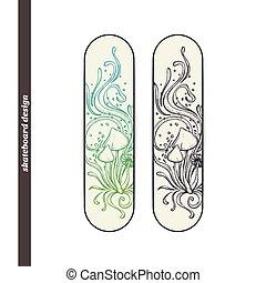 Skateboard Design Abstract Mushroom Four - Design skateboard...