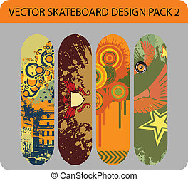 Skateboard design pack 2 - Vector pack of four skateboard...