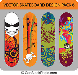 Skateboard design pack 6 - Vector pack of four skateboard ...