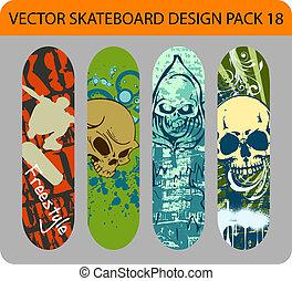 skateboard, design, satz, 18