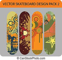 skateboard, design, satz, 2