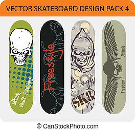 skateboard, disegno, 4, pacco