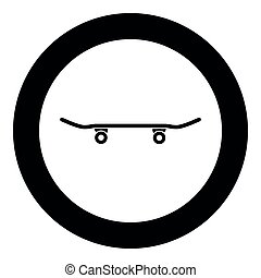 Skateboard icon black color vector illustration simple image