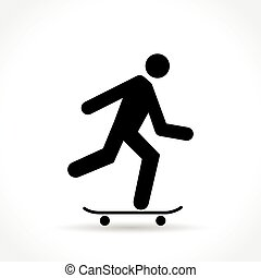 skateboard icon on white background - Illustration of...