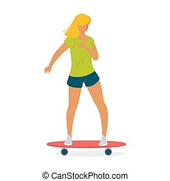 skateboard, illustratie, vector, skater, paardrijden, plank, spotprent