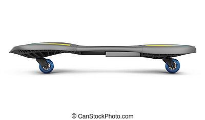skateboard, isolado, branco, experiência., 3d, render, imagem
