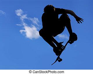 skateboard jump #4 - skateboarder jumping a ramp