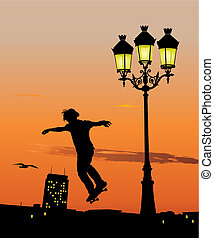 Skateboard jump - Silhouette of young skateboarder jumping...