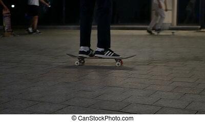 Skateboard jumping park - Silhouette of skater on skateboard...