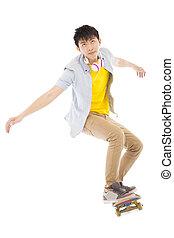 skateboard, junger, freigestellt, springen, hintergrund, weißes, mann