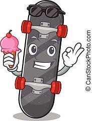 Skateboard mascot cartoon design with ice cream