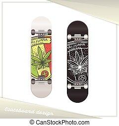 skateboard, medisch, vijf, marihuana
