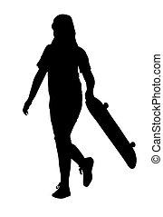 skateboard, meisje, silhouette