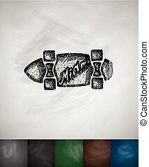 skateboard Miami icon. Hand drawn vector illustration