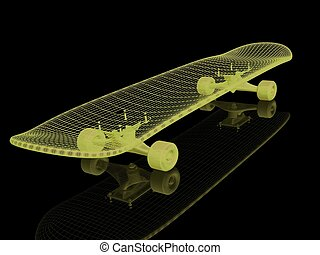 skateboard on a black background
